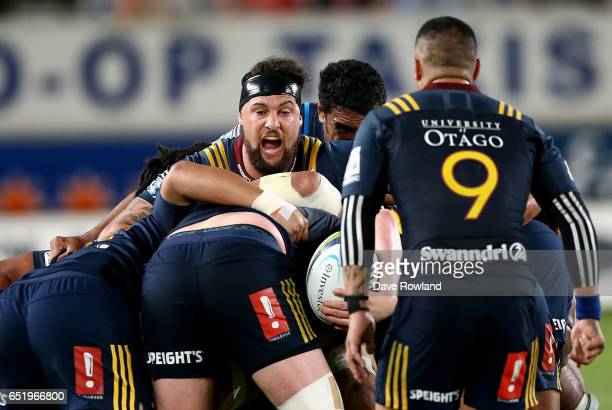 Captain Elliot Dixon of the Highlanders during the round three Super Rugby match between the Blues and the Highlanders at Eden Park on March 11 2017...