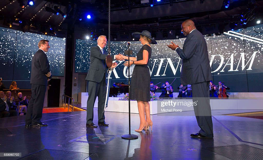 Captain Emiel de Vries, Stein Kruse, CEO Holland America Group and Orlando Ashford, President Holland America Line meet Queen Maxima of The Netherlands after she baptized the cruise ship MS Koningsdam on May 20 2016 in Rotterdam Netherlands.