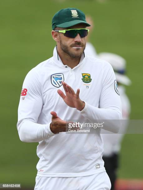 Captain Faf du Plessis of South Africa during day four of the Test match between New Zealand and South Africa at Seddon Park on March 28 2017 in...