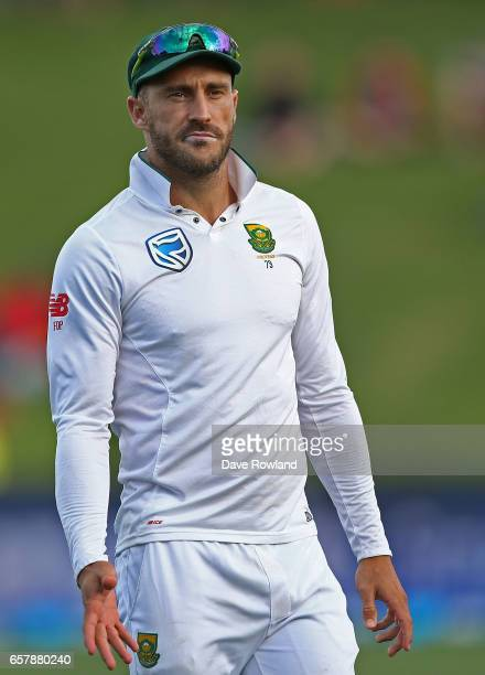 Captain Faf du Plessis of South Africa fields during day two of the Test match between New Zealand and South Africa at Seddon Park on March 26 2017...