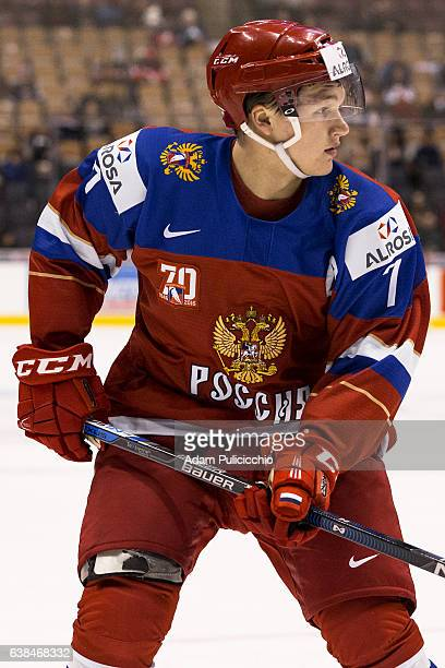 Captain forward Kirill Kaprizov of Team Russia skates against Team Slovakia in a preliminary round Group B game during the IIHF World Junior...