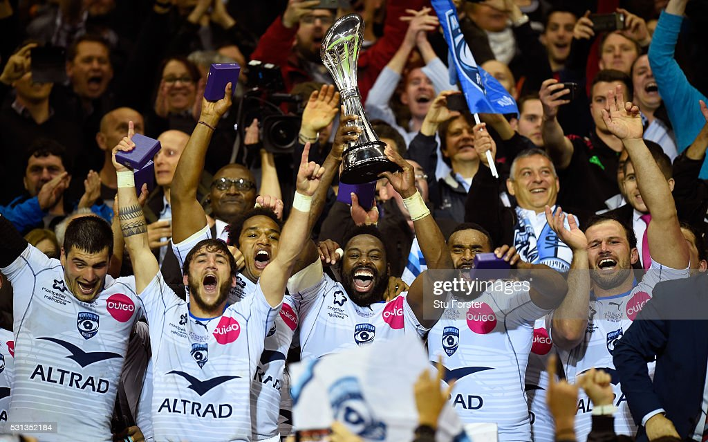Captain Fulgence Ouedraogo of Montpellier lifts the trophy after the European Rugby Challenge Cup Final between Harlequins and Montpellier at Grand...