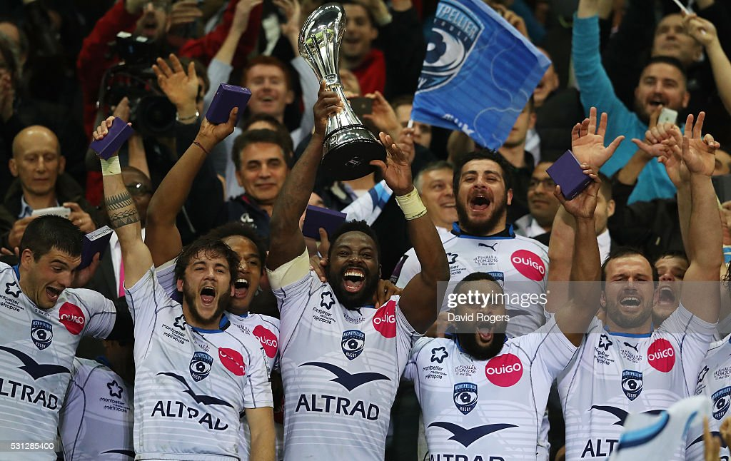 Captain Fulgence Ouedraogo of Montpellier lifts the trophy following his team's 2619 victory during the European Rugby Challenge Cup Final match...