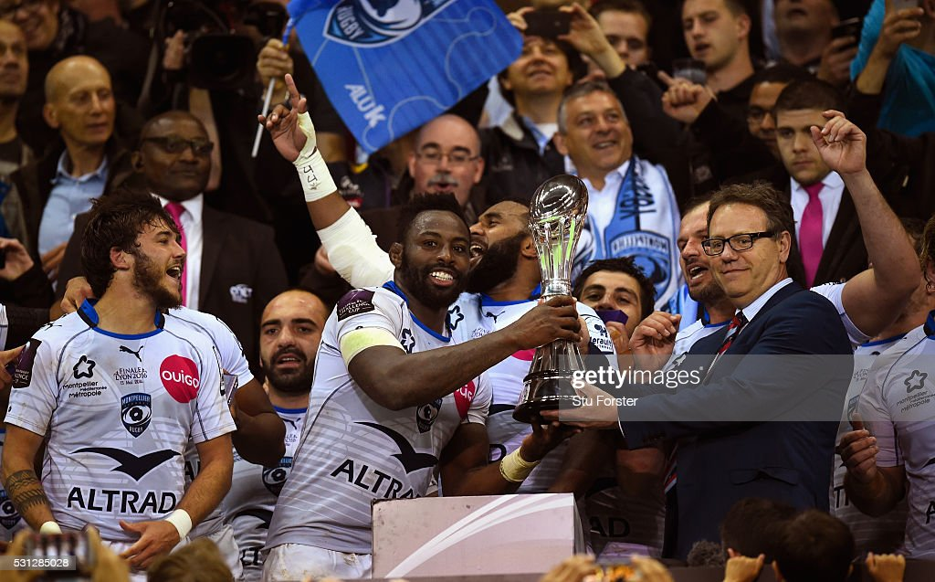 Captain Fulgence Ouedraogo of Montpellier receives the trophy from EPCR Chairman Simon Halliday after the European Rugby Challenge Cup Final between...