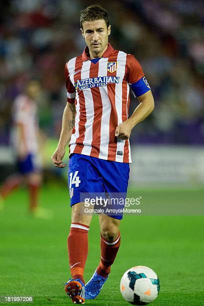 captain Gabi Fernandez of Atletico de Madrid controls the ball during the La Liga match between Real Valladolid CF and Club Atletico de Madrid at...