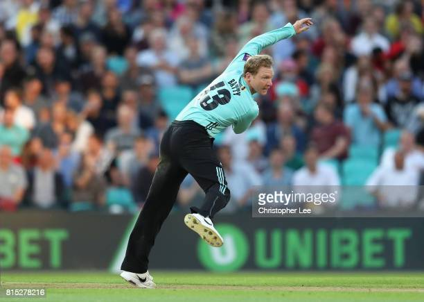 Captain Gareth Batty of Surrey in action during the NatWest T20 Blast match between Surrey and Kent at The Kia Oval on July 14 2017 in London England