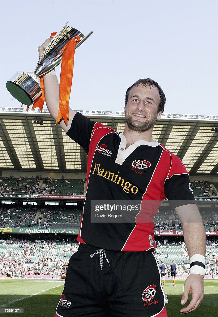 Captain Gavin Cattle of Cornish Pirates holds the trophy after winning the EDF Energy National Trophy match between Cornish Pirates and Exeter Chiefs...
