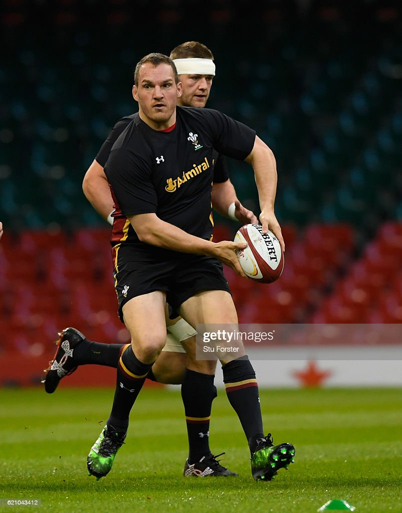 Captain Gethin Jenkins (c) in action with team mates during the Wales captains Run ahead of their match against Australia at Principality Stadium on November 4, 2016 in Cardiff, Wales.