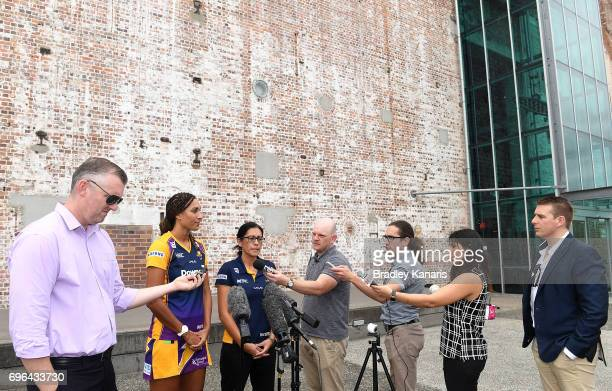 Captain Geva Mentor and Coach Noeline Taurua of the Sunshine Coast Lightning during the Super Netball Grand Final media opportunity at Brisbane...