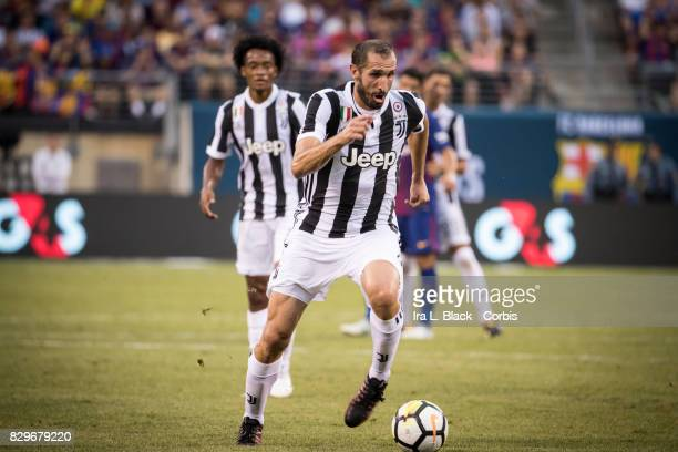 Captain Giorgio Chiellini of Juventus comes in toward the goal during the International Champions Cup match between FC Barcelona and Juventus at the...