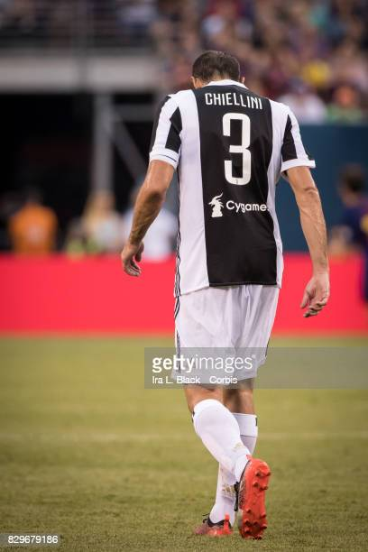Captain Giorgio Chiellini of Juventus reacts after a missed shot on goal during the International Champions Cup match between FC Barcelona and...
