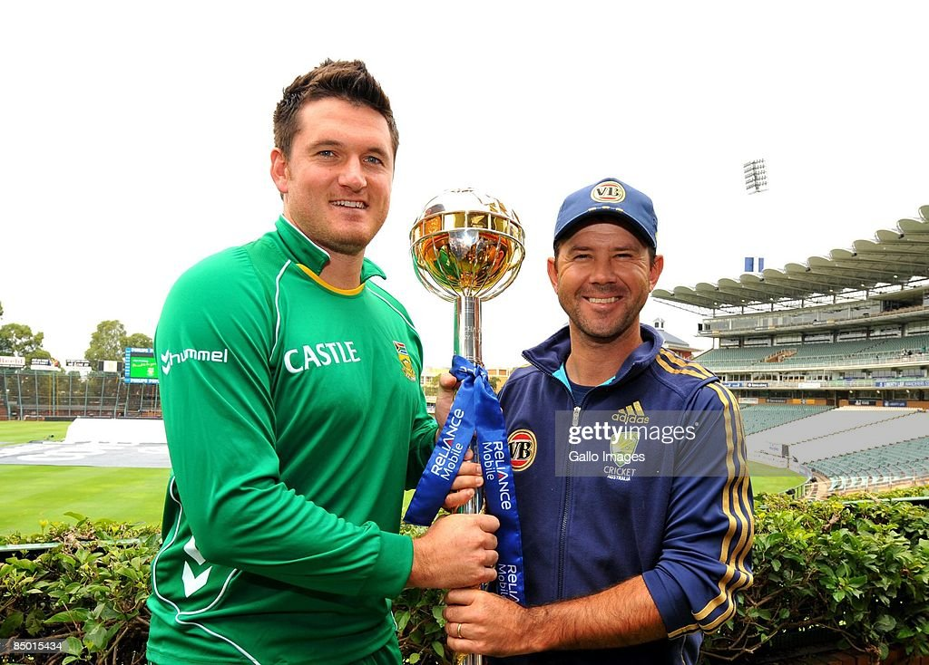 Captain Graeme Smith and Captain Ricky Ponting of Australia pose with the ICC Test Series Mace trophy from Liberty Life Wanderers Stadium on February...