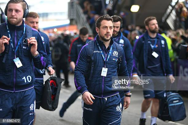 Captain Greig Laidlaw of Scotland and his players arrive at the stadium prior to kickoff during the RBS Six Nations match between Scotland and France...