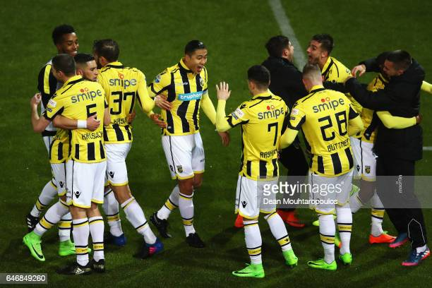 Captain Guram Kashia of Vitesse Arnhem celebrates victory with team mates after the Dutch KNVB Cup Semifinal match between Sparta Rotterdam and...