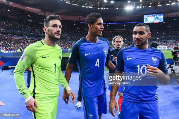 Captain Hugo Lloris of France Raphael Varane and Dimitri Payet of France during the Fifa 2018 World Cup qualifying match between France and Belarus...