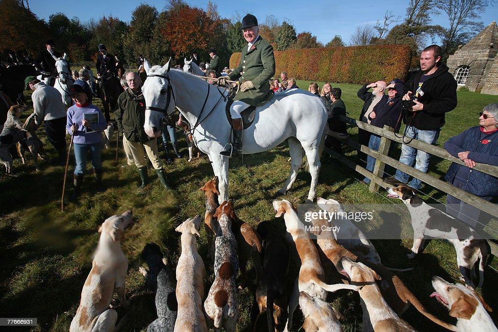 Captain Ian Farquhar joint master and huntsman of the Duke of Beaufort's foxhounds sits on his horse as he waits to lead out the hounds on the...