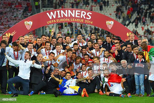 Captain Ivan Rakitic of Sevilla celebrates with team mates after victory during the UEFA Europa League Final match between Sevilla FC and SL Benfica...