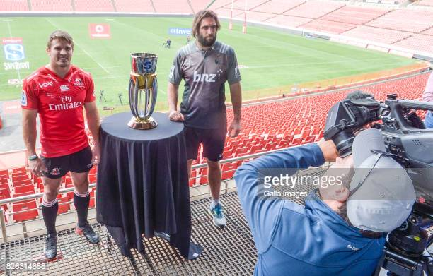 Captain Jaco Kriel of the Lions and Captain Sam Whitelock of the Crusaders during the Super Rugby Final Captains photo opportunity at Emirates...