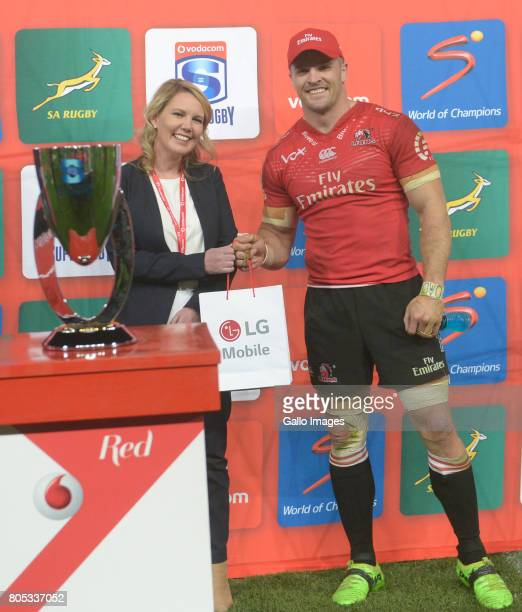 Captain Jaco Kriel of the Lions is man of the match during the Super Rugby match between Emirates Lions and Sunwolves at Emirates Airline Park on...