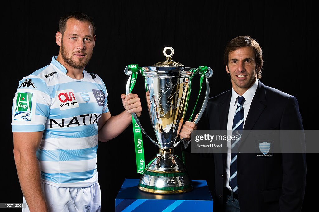 Captain <a gi-track='captionPersonalityLinkClicked' href=/galleries/search?phrase=Jacques+Cronje&family=editorial&specificpeople=227210 ng-click='$event.stopPropagation()'>Jacques Cronje</a> of Racing Metro 92 and coach <a gi-track='captionPersonalityLinkClicked' href=/galleries/search?phrase=Gonzalo+Quesada&family=editorial&specificpeople=685928 ng-click='$event.stopPropagation()'>Gonzalo Quesada</a> of Racing Metro 92 pose with the Heineken Cup during the Heineken Cup Launch at France Television HQ on September 24, 2012 in Paris, France.