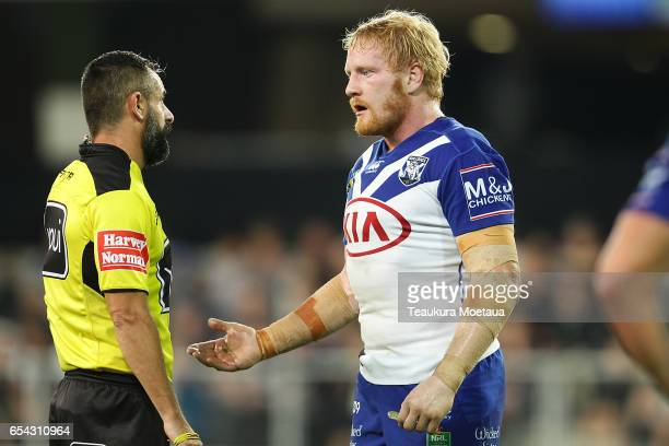 Captain James Graham of the Bulldogs talks to the referee during the round three NRL match between the Bulldogs and the Warriors at Forsyth Barr...