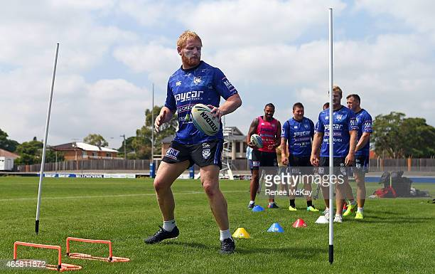 Captain James Graham warms up during a Canterbury Bulldogs NRL training session at Belmore Sports Ground on March 11 2015 in Sydney Australia
