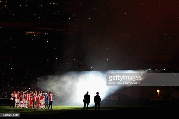 Captain Jan Vertonghen of Ajax leads celebrations in front of the home fans after winning the Eredivisie League title at Amsterdam Arena on May 2...