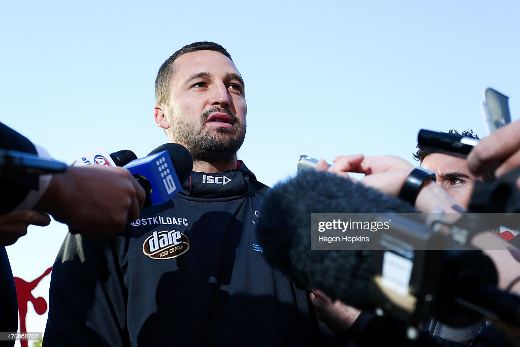 Captain Jarryn Geary of St Kilda speaks to media during an AFL press conference at Wellington Railway Station on April 24, 2015 in Wellington, New Zealand.