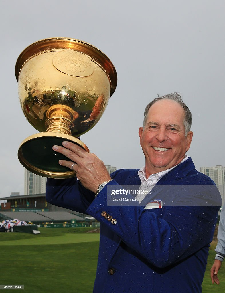 Captain Jay Haas of the United States Team poses with the Presidents Cup after the United States defeated the International Team 15.5 to 14.5 after the Sunday singles matches at The Presidents Cup at Jack Nicklaus Golf Club Korea on October 11, 2015 in Songdo IBD, Incheon City, South Korea.