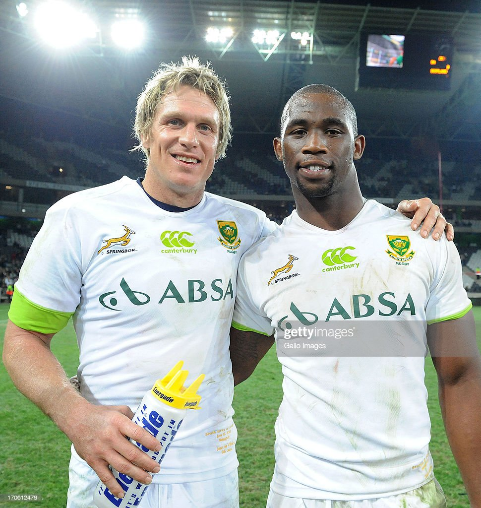Captain Jean de Villirs with man of the match Siya Kolisi of South Africa during the Castle Larger Incoming Tour match between South Africa and Scotland at Mbombela Stadium on June 15, 2013 in Nelspruit, South Africa.