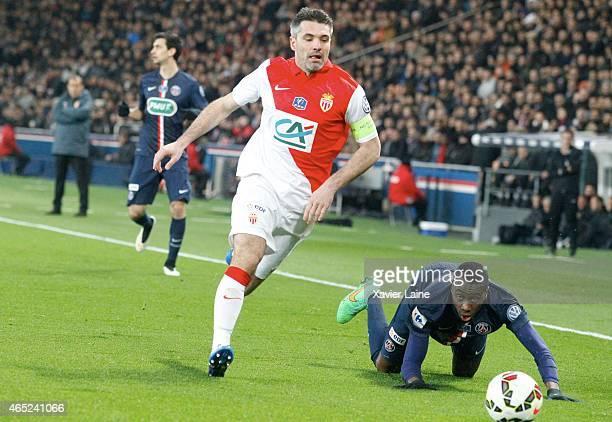 Captain Jeremy Toulalan of AS Monaco FC and Blaise Matuidi of Paris SaintGermain during the French Cup between Paris SaintGermain and AS Monaco FC at...