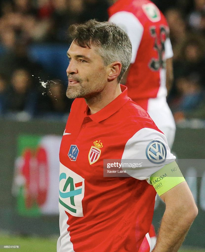 Captain <a gi-track='captionPersonalityLinkClicked' href=/galleries/search?phrase=Jeremy+Toulalan&family=editorial&specificpeople=4321622 ng-click='$event.stopPropagation()'>Jeremy Toulalan</a> of AS Monaco FC reacts during the French Cup between Paris Saint-Germain and AS Monaco FC at Parc Des Princes on march 4, 2015 in Paris, France.