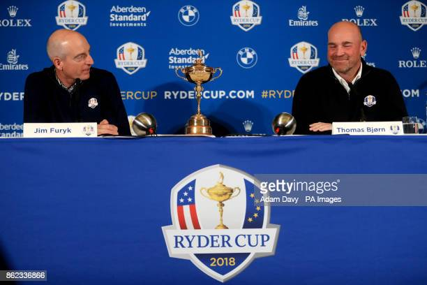 USA captain Jim Furyk and European captain Thomas Bjorn during a media event ahead of the 2018 Ryder Cup at The Hotel Pullman Paris Eiffel Tower Paris