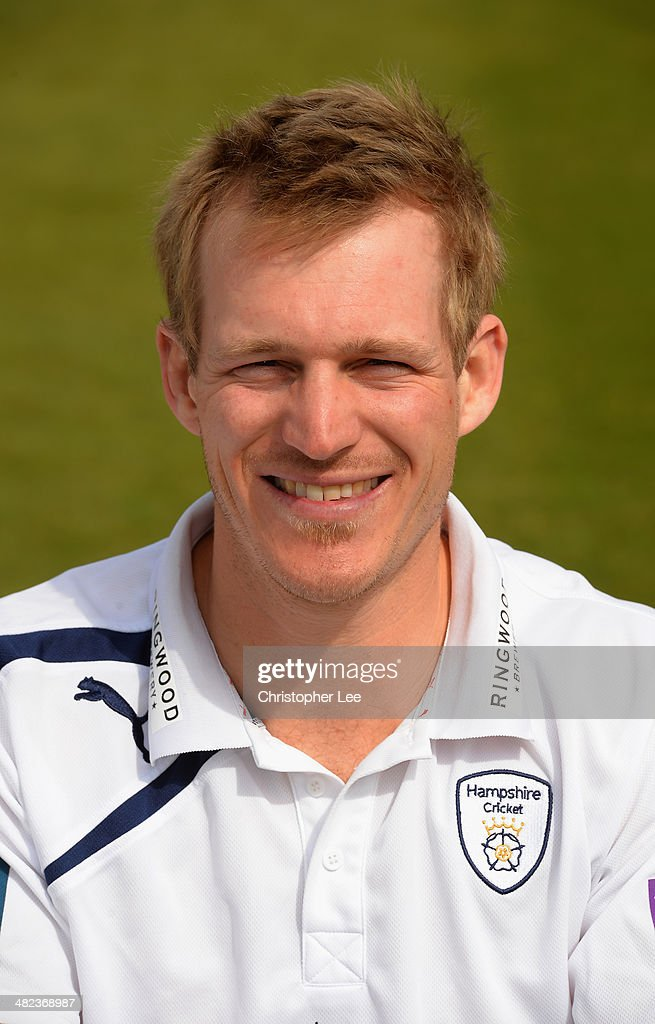 Captain Jimmy Adams poses for the camera wearing their County kit during the Hampshire CCC Photcall at the Ageas Bowl on April 3 2014 in Southampton...