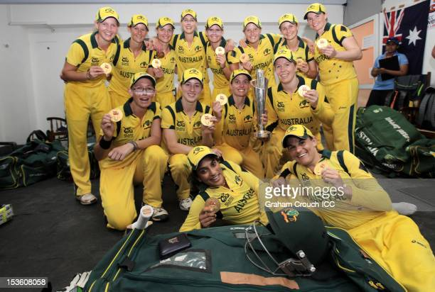 Captain Jodie Fields of Australia leads celebrations after defeating England during the ICC Women's World Twenty20 2012 Final between England and...
