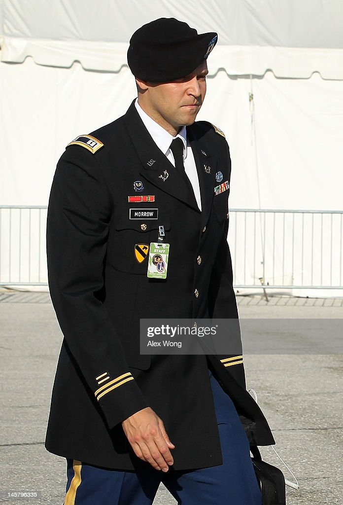 Captain Joe Morrow, a member of the prosecution team, arrives for a motion hearing in the case United States vs. Pfc. Bradley E. Manning June 6, 2012 in Fort Meade, Maryland. Manning, an Army intelligence analyst who has been accused of passing thousands of diplomatic cables and intelligence reports to the whistleblowing website WikiLeaks and facing 22 charges including aiding the enemy, returned to the court room to ask for dismissal of 10 of the charges.