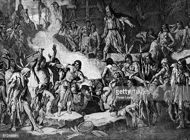 1608 Captain John Smith being saved from Indian braves by Matoaka better known as Pocahontas the daughter of Chief Powhatan She later married...