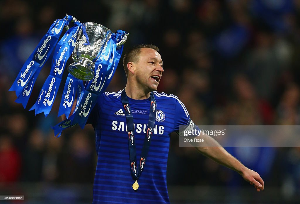 Captain <a gi-track='captionPersonalityLinkClicked' href=/galleries/search?phrase=John+Terry&family=editorial&specificpeople=171535 ng-click='$event.stopPropagation()'>John Terry</a> of Chelsea celebrates with the trophy during the Capital One Cup Final match between Chelsea and Tottenham Hotspur at Wembley Stadium on March 1, 2015 in London, England.