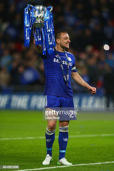 Captain John Terry of Chelsea celebrates with the trophy during the Capital One Cup Final match between Chelsea and Tottenham Hotspur at Wembley...