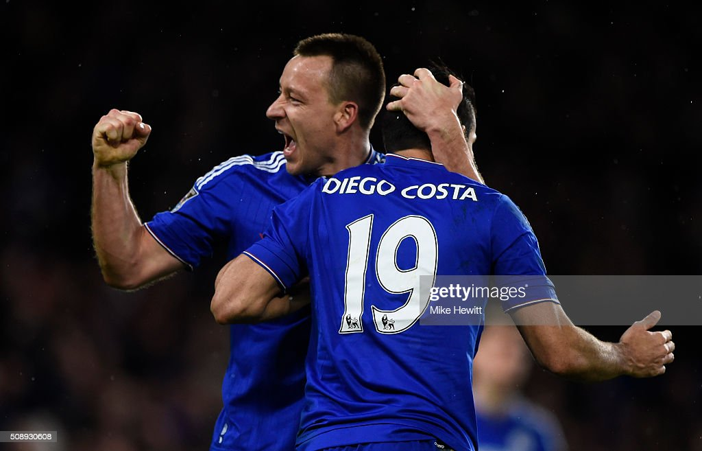 Captain <a gi-track='captionPersonalityLinkClicked' href=/galleries/search?phrase=John+Terry&family=editorial&specificpeople=171535 ng-click='$event.stopPropagation()'>John Terry</a> of Chelsea with goal scorer Diego Costa of Chelsea during the Barclays Premier League match between Chelsea and Manchester United at Stamford Bridge on February 7, 2016 in London, England.