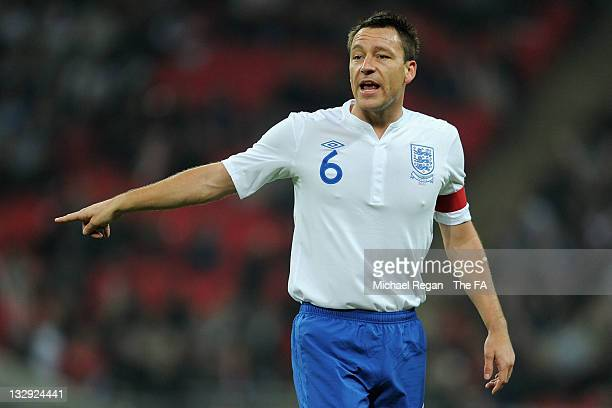 Captain John Terry of England gestures during the international friendly match between England and Sweden at Wembley Stadium on November 15 2011 in...