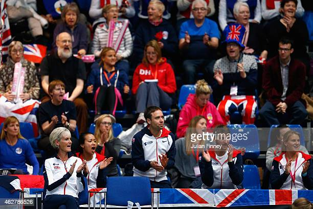 Captain Judy Murray and fans show their support for Johanna Konta of Great Britain against Ipek Soylu of Turkey during day two of the Fed Cup/Africa...