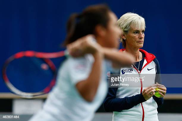 Captain Judy Murray and Heather Watson of Great Britain in a practice session during day three of the Fed Cup/Africa Group One tennis at Syma Event...