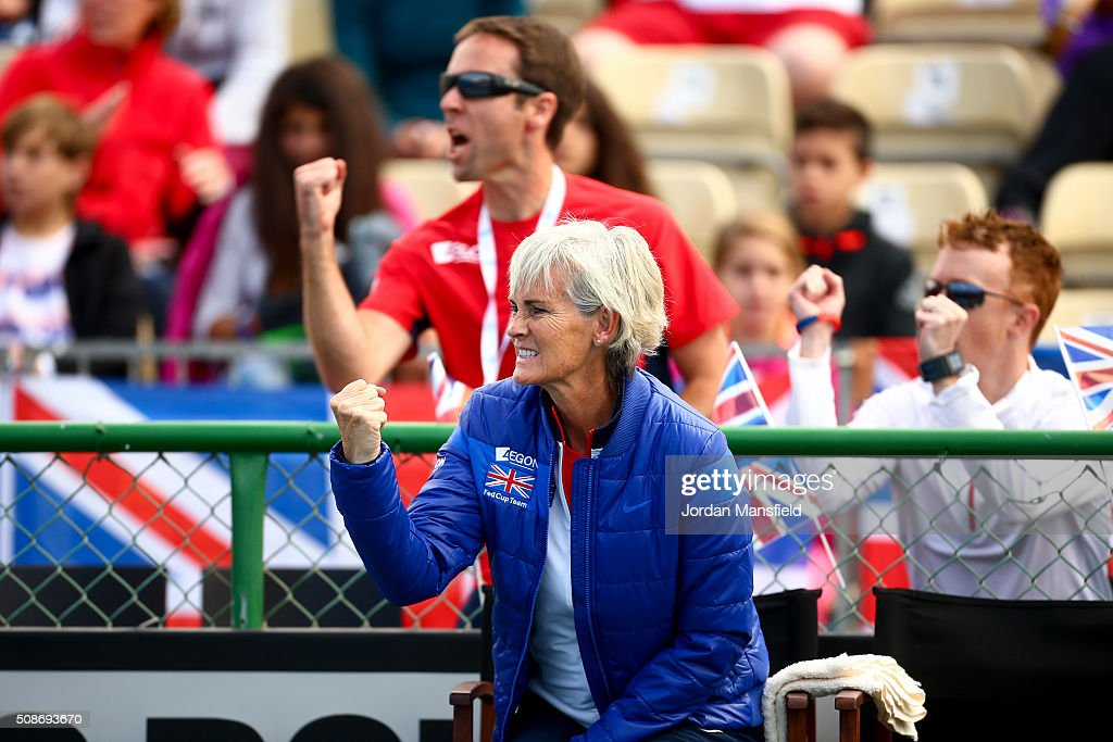 Captain <a gi-track='captionPersonalityLinkClicked' href=/galleries/search?phrase=Judy+Murray&family=editorial&specificpeople=582324 ng-click='$event.stopPropagation()'>Judy Murray</a> cheers during the match between Katie Swan of Great Britain against Ysaline Bonaventure during the tie between Belgium and Great Britain on day three of the Fed Cup Europe/Africa Group One fixture at the Municipal Tennis Club on February 6, 2016 in Eilat, Israel.