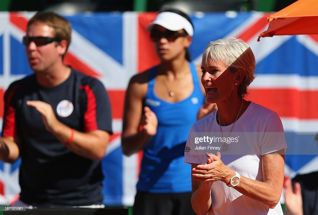 Captain <a gi-track='captionPersonalityLinkClicked' href=/galleries/search?phrase=Judy+Murray&family=editorial&specificpeople=582324 ng-click='$event.stopPropagation()'>Judy Murray</a> gives her support for Laura Robson of Great Britain in her match against Florencia Molinero of Argentina during day one of the Fed Cup World Group Two Play-Offs between Argentina and Great Britain at Parque Roca on April 20, 2013 in Buenos Aires, Argentina.