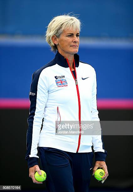 Captain Judy Murray watches on during a practice session ahead of the tie between Georgia and Great Britain on day three of the Fed Cup Europe/Africa...