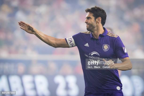 Captain Kaka of Orlando City SC signals his thoughts on the call MLS match between New York Red Bulls and Orlando City SC at the Red Bull Arena on...
