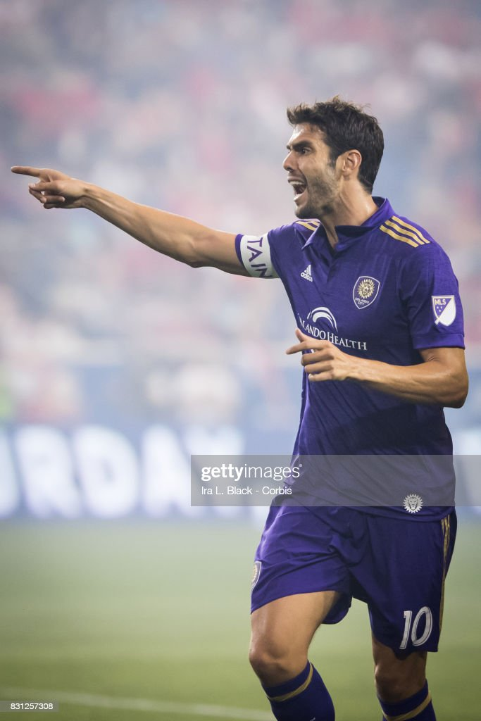 Captain Kaka #10 of Orlando City SC signals his thoughts on the call MLS match between New York Red Bulls and Orlando City SC at the Red Bull Arena on August 12, 2017 in HARRISON, NJ. The New York Red Bulls won the match with a score of 3 to 1.