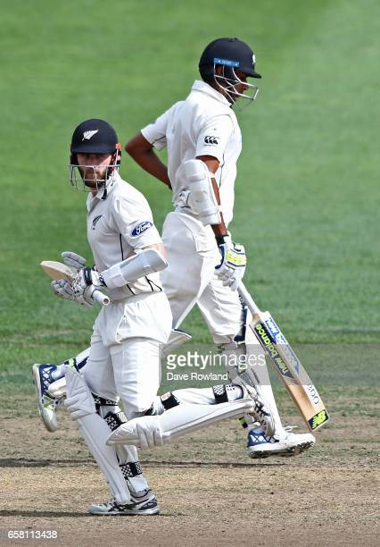 Captain Kane Williamson and Jeet Raval of New Zealand batting during day three of the Test match between New Zealand and South Africa at Seddon Park...