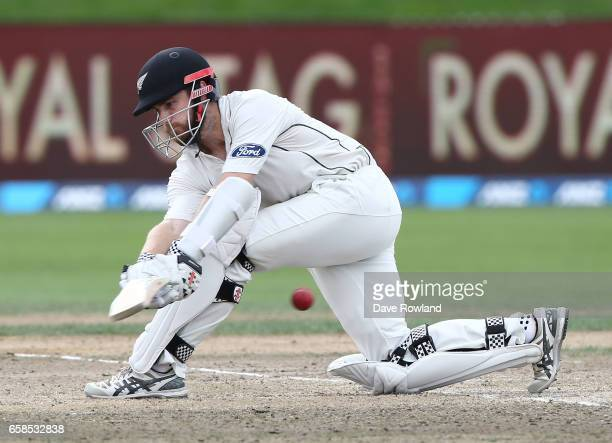 Captain Kane Williamson of New Zealand bats during day four of the Test match between New Zealand and South Africa at Seddon Park on March 28 2017 in...